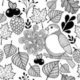 Black and white pattern bird on the branch and autumn leaves. Wallpaper for coloring for kids and adult. Vector illustration Stock Photos