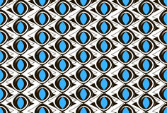 Black and white pattern with blue ovals Royalty Free Stock Photo