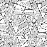 Black and white pattern with Christmas trees for coloring book. Black and white pattern with decorative Christmas trees for coloring book. Winter, festive Stock Images