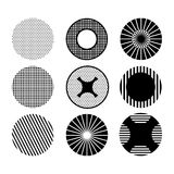 Black and white pattern with circles. Set Royalty Free Stock Photos
