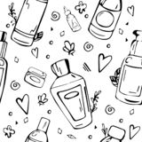 Black and white pattern with cosmetic bottles. royalty free illustration