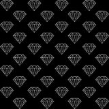 Black and white pattern with diamonds. Vector seamless pattern with diamonds, black and white pattern with brilliants Stock Images
