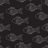 Black and white pattern with fish vector illustration