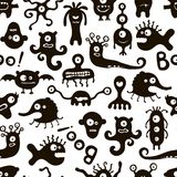Black and white pattern with funny monsters. Royalty Free Stock Images