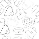 Black and white pattern of handbags. Black and white pattern of female handbags Stock Photography