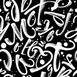 Black and white pattern with ink letters Stock Photo