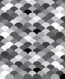 Black and white pattern a la fish scales. Grey color background with circles Stock Photos