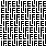 Black and white pattern of letters of the word life stock illustration