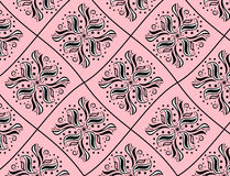 Black and white pattern like rhomb on pink backgro Stock Images
