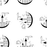 Pattern on a theme of halloween with the lock from contours and trees. Black white pattern with a lock, bats, trees, windows and clouds from contours and simple Stock Photo