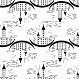 Pattern on a theme of halloween with the lock from contours and trees. Black white pattern with a lock, bats, trees, windows and clouds from contours and simple Stock Photography