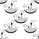 Pattern on a theme of halloween with the lock from contours and trees. Black white pattern with a lock, bats, trees, windows and clouds from contours and simple Stock Image