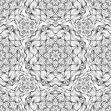 Black and white pattern with ornament in mandala style seamless vector illustration. Black and white pattern in mandala style seamless vector illustration Vector Illustration