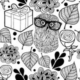 Black and white pattern with owl and gifts. Stock Photos