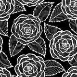 Black and white pattern in roses and leaves lace. Stock Photography