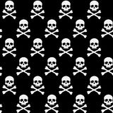 Black and white pattern with skulls and bones. Vector seamless pattern with skulls, black and white Halloween background Stock Photo