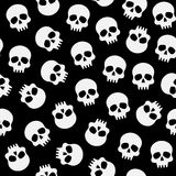 Black and white pattern with skulls. Halloween pattern with skulls, vector seamless black and white pattern Royalty Free Stock Photos