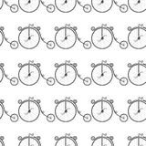 Black and white pattern of vintage bicycles Royalty Free Stock Image
