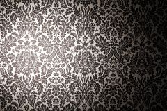 Black and white pattern wallpaper. Photography with a light stain. Vintage style stock illustration