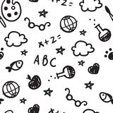 Black and white pattern of welcome back to school with hand drawn school supplies. Back To School Background. Vector. Royalty Free Stock Image