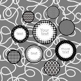 Black and white patterned circles infographics template background, vector Royalty Free Stock Image
