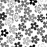 Black and white patterned flowers seamless Stock Photography