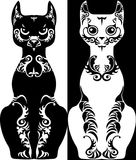Black and white patterned stylized image cat Royalty Free Stock Photos