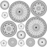 Black and white patterns. Circle orientale in black and white Stock Photos