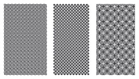 Black white patterns. Three intricate black and white patterns Stock Photos