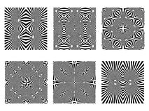 Black and white patterns. Op art seamless textures; vector art illustration Stock Image