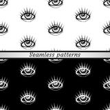 Black and white patterns. Eyes. Black and white patterns. Seamless Stock Photos