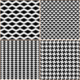 Black And White Patterns. Set of 4 seamless patterns. Black and white. Abstract geometric patterns. Retro banner with text Royalty Free Stock Image