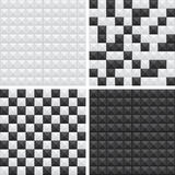 Black and white patterns. Set of seamless geometric patterns in black and white, 4 styles Royalty Free Stock Images