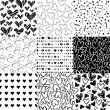 Black and white patterns for Valentines day. Black and white patterns with hearts for Valentines day Stock Photo
