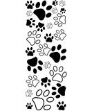 Black white paw prints border vector Stock Image