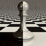 Black and white pawn on chessboard. Black and white pawn on the chessboard background. 3d render Royalty Free Stock Image