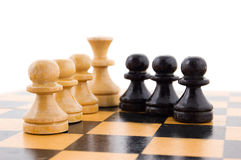 Black and white pawns. Chess concept, black and white pawns in line Stock Photos