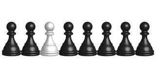 Black and white pawns Royalty Free Stock Image