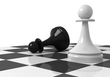 Black and white pawns on the chessboard. Chess pieces on the chessboard: black and white pawns. 3d render illustration  on white background Stock Image