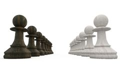 Black and white pawns facing off Stock Photo