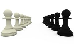 Black and white pawns facing off Stock Photography
