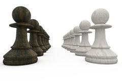 Black and white pawns facing off Royalty Free Stock Images