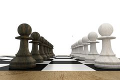 Black and white pawns facing off Stock Images