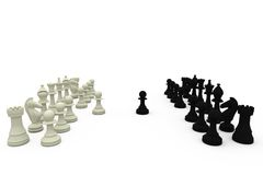 Black and white pawns making move Royalty Free Stock Image