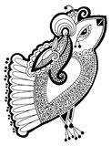 Black and white peacock decorative ethnic drawing Royalty Free Stock Images