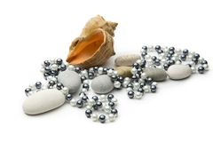Black and white pearls Royalty Free Stock Photos
