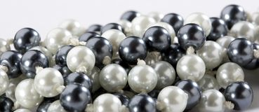 Black and white pearls stock photo