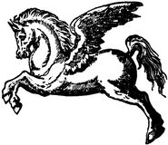 Black and white Pegasus illustration stock photo