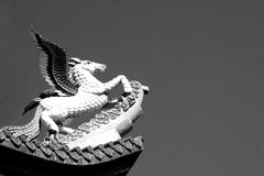 Black and white Pegasus sculpture Stock Photography