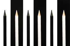 Black and white penciles standing out from crowd on bw stripe background. business success concept of leadership an uniqueness,ind. Ependence, initiative Royalty Free Stock Images